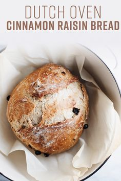 The most delicious homemade cinnamon raisin bread! Perfectly baked in a dutch oven and has the most perfect taste and texture. Dutch Oven Bread, Dutch Oven Cooking, Dutch Oven Recipes, Cooking Recipes, Bread Oven, Chef Recipes, Soup Recipes, Pain Aux Raisins, Artisan Bread Recipes