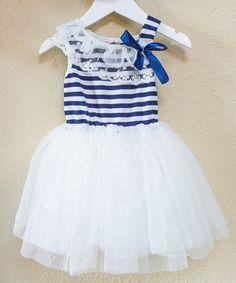 Look what I found on #zulily! Navy & White Stripe Tutu Dress - Infant, Toddler & Girls #zulilyfinds