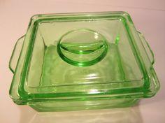 Vintage Hazel Atlas Green Depression Glass by LadyNinaNana on Etsy, $20.00