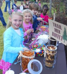 Trail mix bar / buffet idea. Great snack mix food idea for casual entertaining, party, holidays and events. For kids and grown-ups. Be creative!