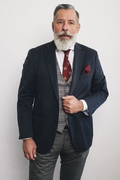 #grey_is_the_new_cool #never_too_old #silverfox #50+ Men's Style, 50th, Suit Jacket, Breast, Mens Fashion, Suits, Grey, Jackets, Male Style