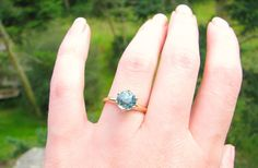 HOLD Big Beautiful Blue Zircon Ring Super Sparkly by Franziska
