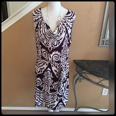 ✨ Gorgeous Maroon and White Dress✨ INC International Concept dress in maroon and white, with royal scrolls print. Never worn. Purchase at Macy's. INC International Concepts Dresses Midi