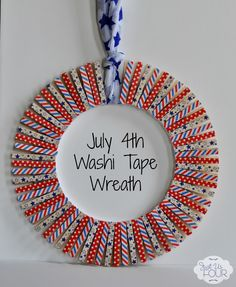 This washi tape wreath is ready for the July 4th holiday thanks to red, white and blue colors with some fun stars and stripes added in too.
