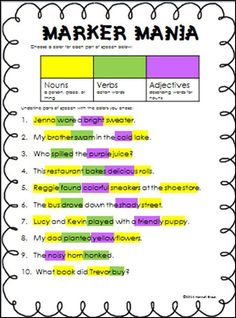 Parts of Speech Marker Mania. A fun, colorful activity for teaching parts of speech. Grammar Activities, Teaching Grammar, Teaching Language Arts, Classroom Language, Teaching Writing, Writing Activities, Speech And Language, Teaching English, Parts Of Speech Activities