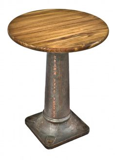 repurposed antique depression era industrial freestanding heavy duty cast iron machine base with a newly added varnished pine wood tabletop  $556 (was $795)