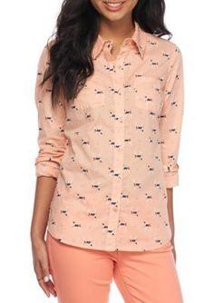 Red Camel Pearldog Dog Print Button Down Shirt