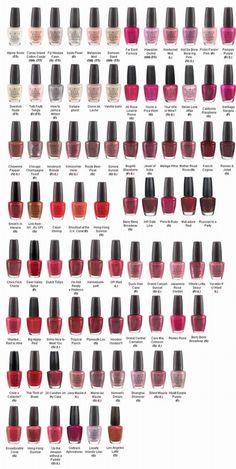 OPI Nail Polish (Most Popular Colors Chart)