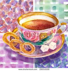 Collection of sweet desserts .Cup of Tea and Sushkis on abstract background. Watercolor illustration.