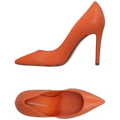Cartechini Pump ($119) ❤ liked on Polyvore featuring shoes, pumps, orange, orange leather shoes, heels stilettos, leather sole shoes, orange leather pumps and stilettos shoes