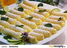 Mini trubičky s citronovým krémem recept - TopRecepty.cz Czech Recipes, Sweets, Vegetables, Anna, Bakken, Good Stocking Stuffers, Candy, Vegetable Recipes, Goodies