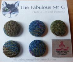 Handmade 25mm Harris Tweed Buttons by TheFabulousMrG on Etsy, $10.00