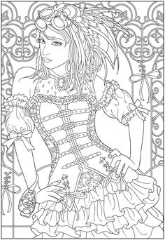 Creative Haven Steampunk Fashions sample colouring pages @ Dover Publications Make your world more colorful with free printable coloring pages from italks. Our free coloring pages for adults and kids. People Coloring Pages, Coloring Pages For Girls, Coloring Book Pages, Free Adult Coloring, Printable Adult Coloring Pages, Creative Haven Coloring Books, Mandalas Painting, Fairy Coloring, Colorful Drawings