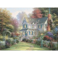 Painter of Light : Thomas Kinkade Heartwarming Paintings - Inviting Front Porch - Romantic Cottage Paintings by Thomas Kinkade 10 Victorian Gardens, Victorian Homes, Victorian Cottage, Victorian Art, Victorian Christmas, Thomas Kinkade Art, Kinkade Paintings, Oil Paintings, Thomas Kincaid