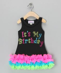 Take a look at this Black & Pink 'My Birthday' Ruffle Dress - Infant, Toddler & Girls by The Princess and the Prince on #zulily today!