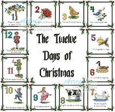 12 Days of Christmas Sampler cross stitch pattern.