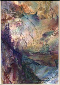 First Light by Marylin Davis. Tissue paper over Aluminum foil
