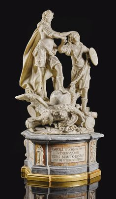 Southern Italian, Sicily, circa 1720 ALLEGORICAL GROUP WITH HOLY ROMAN EMPEROR CHARLES VI AND PRINCE EUGENE OF SAVOY the base inscribed: CAROLE TV DOMINVS DOMITOR / TV EVGENIVS ORBIS / SORS MERITO DISPAR / PAR IN VTROQUE FIDES, and with an old label inscribed: 230 to the top of the base white marble, on a partially gilt wood and partially gilt and polychromed veined grey marble,white marble, and veined red and yellow marble base