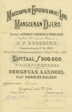 Maatschappij tot Exploitatie van Het Land Mangoenan Djero Soerabaya Pasoeroean of Probolinggo, 22.12.1883, Bewijs van Aandeel über 500 Gulden, #286, 34 x 21,4 cm, schwarz, weiß, DB, KR, Rarität aus einer alten Sammlung!