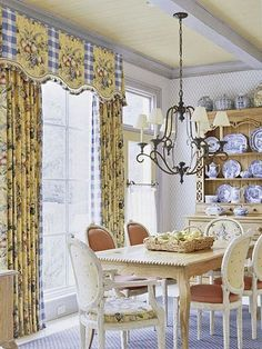 Toile window treatment, Draperies and shaped pelmet make a definite statement without overwhelming the space.