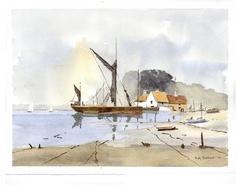 Pin Mill, Suffolk - Watercolour 10 x 14 Watercolour From an original by James Fletcher-Watson British Artist, Landscape Paintings, Maritime Art, Nautical Painting, Seascape, Watercolor Landscape, Art Pictures, Landscape Art, Sea Art
