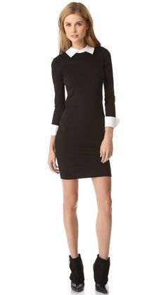 alice + olivia Courtnee Combo Cuff Dress this is exactly what Wednesday Addams would wear!