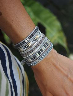 So Rock Grey beaded mix Boho Wrap bracelet Bohemian bracelet Beadwork bracelet by G2Fdesign on Etsy