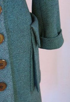 Vintage Detail: Pockets. The pockets on this 1940s coat by famous designer Irene Lentz are called bellows pockets. They are set on with an inverted pleat that allows the pocket to open up and fit your hand more easily.