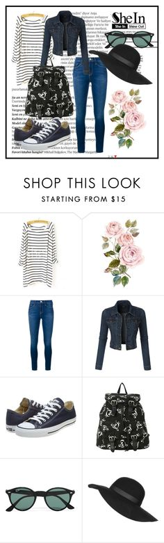 """""""Shein Contest"""" by kenan-huskic ❤ liked on Polyvore featuring Balmain, Frame Denim, LE3NO, Converse, Ray-Ban, Topshop, women's clothing, women, female and woman"""
