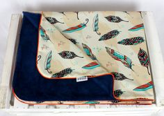 Minky Baby Blanket for Girl and Boy feathers navy cream  Nuva