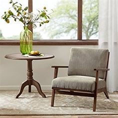 Amazon.com: Madison Park Axis Exposed Wood Accent Chair Mushroom See below: Kitchen & Dining