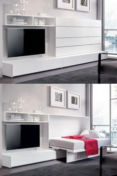Modern Murphy Bed With Closet.Spring Wall Bed Modern Bedroom Austin By . These 10 Modern Murphy Beds Will Help You Maximize Space . Home and Family Cama Murphy, Murphy Bed Ikea, Murphy Bed Plans, Murphy Bed With Couch, Murphy Bed Office, Small Apartments, Small Spaces, Studio Apartments, Bedroom Furniture