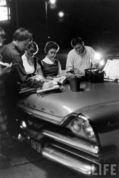 Paul Schutzer - Teenagers doing homework. Norfolk, Virginia, USA 1958.