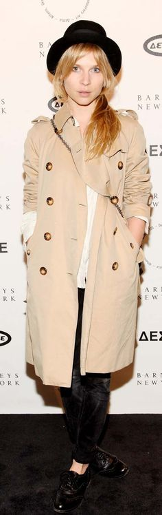 Bowler, brogues, black jeans | French actress Clemence Poesy wearing a Burberry trench coat in New York last week