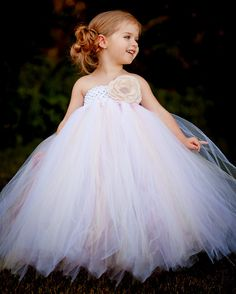 Vintage Daydream Flower Girl Tutu Dress with Handmade Rose. $172.00, via Etsy.