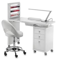 Manicure tables for beautician with integrated stand, lacquered wood worktop with integrated vent system Possibility of creating a nail bar putting together more manicure tables. The manicure table comes with lamp, hand rest mat and display Beauty Home Beauty Salon, Home Nail Salon, Nail Salon Design, Beauty Salon Decor, Salon Interior Design, Beauty Room, Nail Desk, Nail Room, Mini Sala
