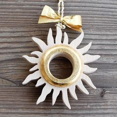 Golden sun for all of you who looooooove summer! Made from massive wood, handgilded and completed with stunning ribbons in gold shades. Perfect gift for all women in your life Golden Sun, Luxury Gifts, Clear Crystal, Wood Art, Ribbons, Shades, Brooch, Decorations, Crystals
