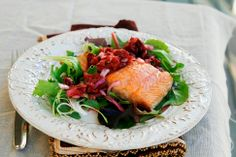 Honey cherry salmon with cherry salsa