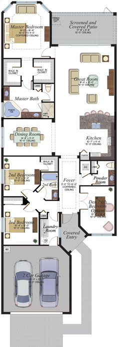 Home Design Drawing Stonecreek Tribeca Floorplan - Modern Floor Plans, Home Design Floor Plans, Dream House Plans, House Floor Plans, Small House Decorating, Decorating Ideas, Narrow House, House Blueprints, Outdoor Kitchen Design