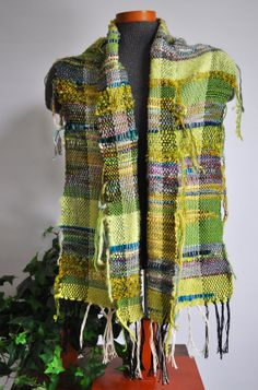 Handwoven Art Fiber Scarf Saori Style  Licking by thefigleafhouse, $92.00