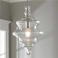 "Glass Spool PendantThis charming pendant comes with clear glass and chrome socket cover and canopy. 136"" max height. (16""Hx10.5""W). 60 watts medium base socket.Product SKU: PE16024 CH Mbath"
