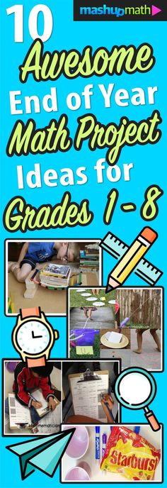 Check out these fun and awesome end of year math project ideas for elementary and middle school students (1st grade, 2nd grade, 3rd grade, 4th grade, 5th grade, 6th grade, 7th grade, 8th grade).
