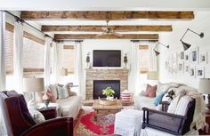 Cottage Style Living Room   Wood Beams   White Plank Walls