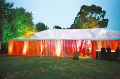 Add colored panels to outdoor Reception tent, in your wedding colors. Sister Wedding, Real Weddings, Summer Weddings, Reception Decorations, Reception Ideas, Wedding Inspiration, Wedding Ideas, Wedding Stuff, Wedding Things
