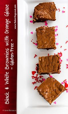Rich chocolate brownies with white chocolate and walnut chunks, and a luscious orange glaze ~ perfect for your Valentine or any special occasion! And by special occasion, I mean any day of the year, LOL  #ComfortFoodFeast #FoodNetwork