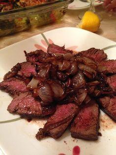 beef tenderloin steak with balsamic glazed onions and mushrooms