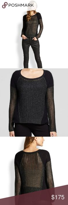 Eileen Fisher black sweater! Absolutely gorgeous and on point style! This sweater is so versatile. NWOT, only tried on, just can't find a chance to wear with my Florida weather so I must pass this on?? to a fellow posher and fashion lover. Black with metallic crochet design and super soft shoulder and waist panels. Made of 45% viscose, 17% mohair, 17% alpaca, 11% nylon, and 10%polyester! Eileen Fisher Sweaters Crew & Scoop Necks