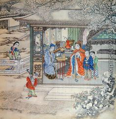 Scene in a garden with a family receiving visitors - Chinese School