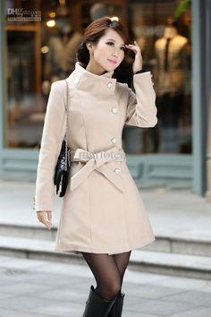 2014 Autumn Winter Fashion Women Wool Blend Stand Collar Coat.