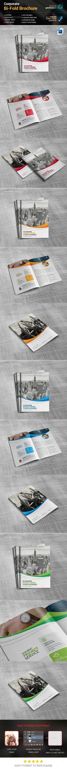 Business Bi-Fold Brochure Template PSD. Download here: https://graphicriver.net/item/business-bifold-brochure/17218729?ref=ksioks
